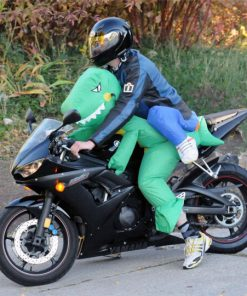 dinosaure gonflable moto